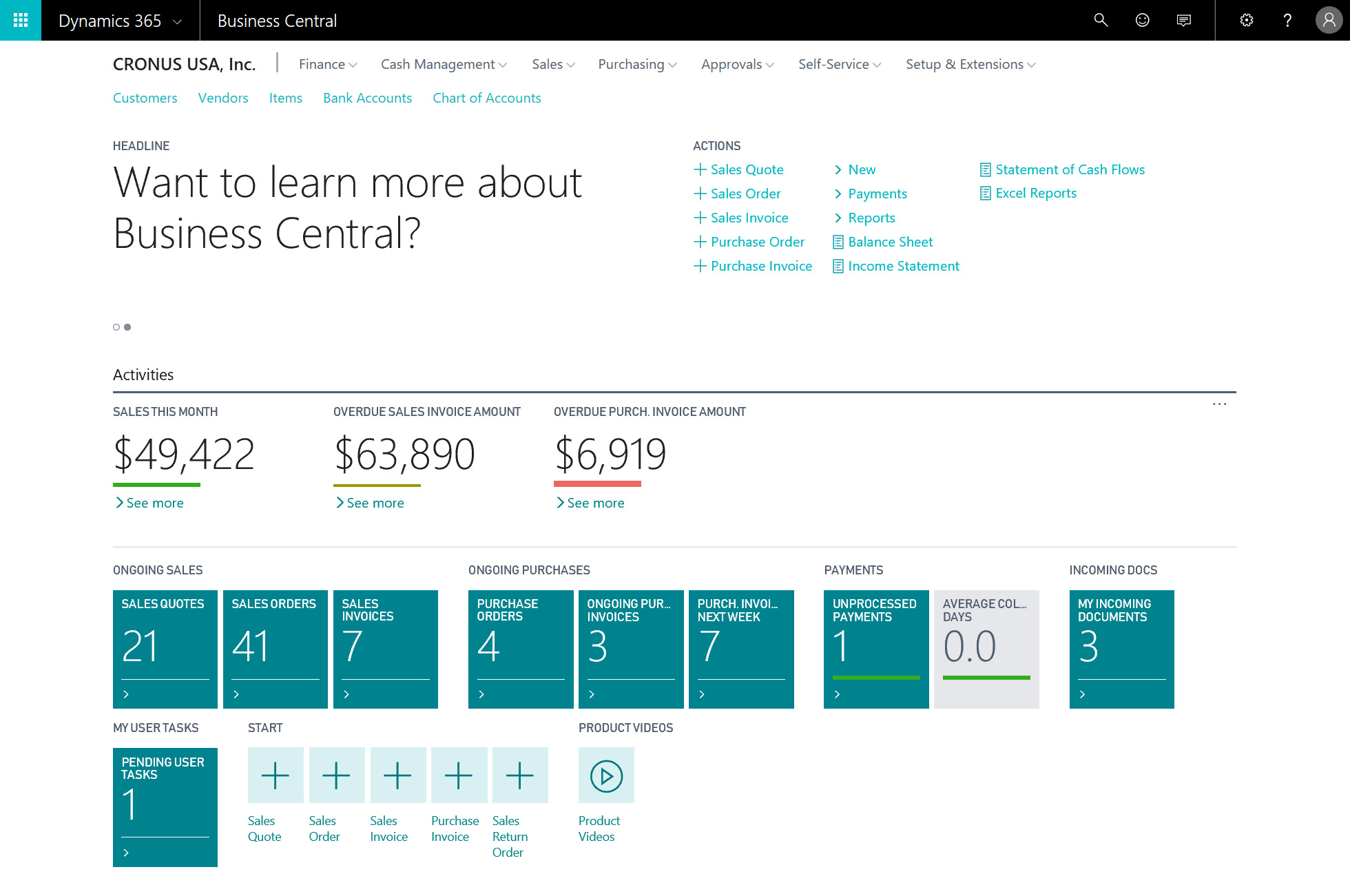 User interface of Microsoft Dynamics 365 Business Central - COSMO CONSULT