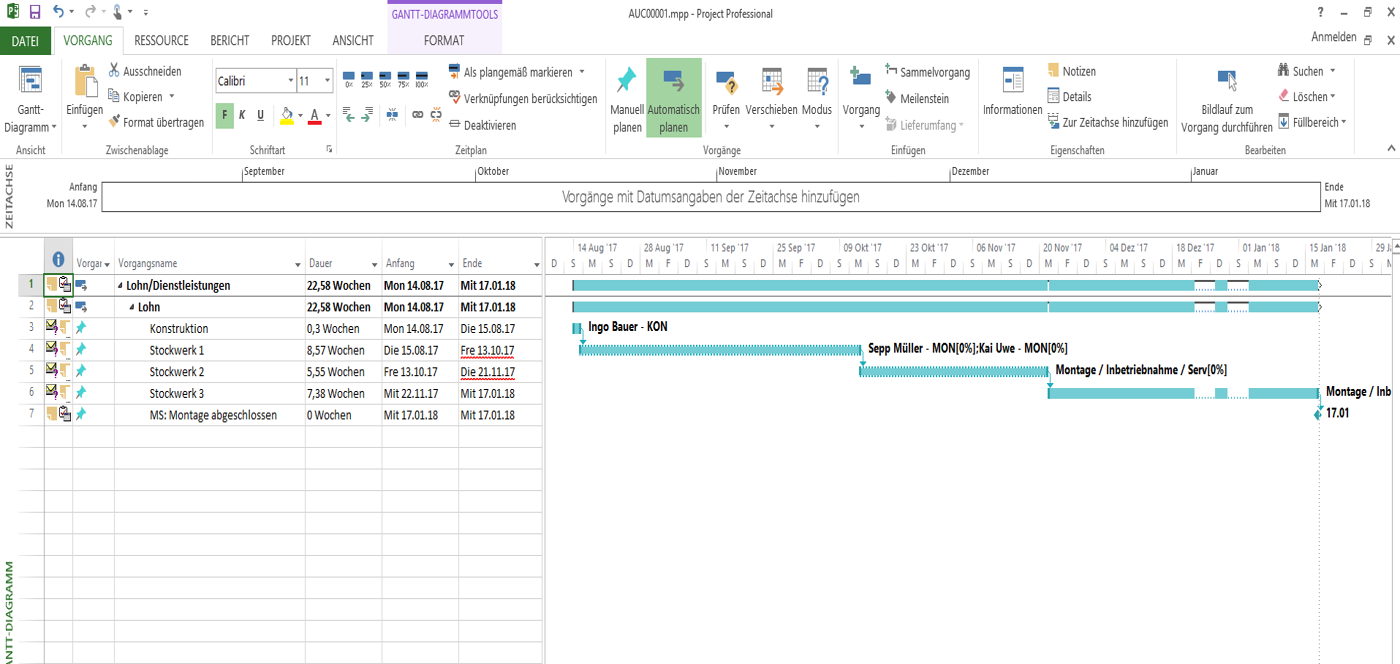 User interface of operation scheduling int the construction ERP software - COSMO CONSULT