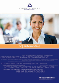 Factsheet cover of cc|automotive. cc|automotive supports you in handling all requirements of your customers and suppliers in an industry-specific software solution.