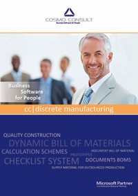 Factsheet cover of cc|discrete manufacturing. Discrete manufacturing offers an industry solution for make-to-order, configure-to-order and assemble-to-order companies involved in the manufacture of one-off products, small series or variants