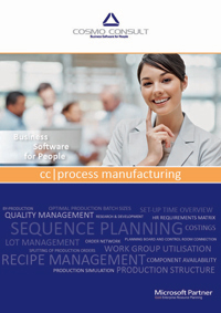 Factsheet cover of cc|process manufacturing: from procurement and quality control to recipe management and optimisation, and optimal capacity and sequence planning, all processes are integral components of the ERP solution Process Manufacturing.