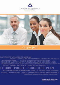 Factsheet cover of cc|project: supports project-based manufacturing companies as well as project service providers.