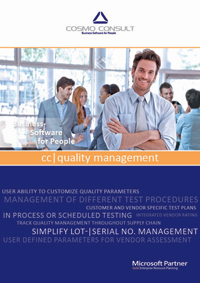 Factsheet cover of cc|quality management: Quality Management for Microsoft Dynamics NAV manages all necessary tests, test devices and test documentation – during purchase, production and final inspection to increase the product quality.