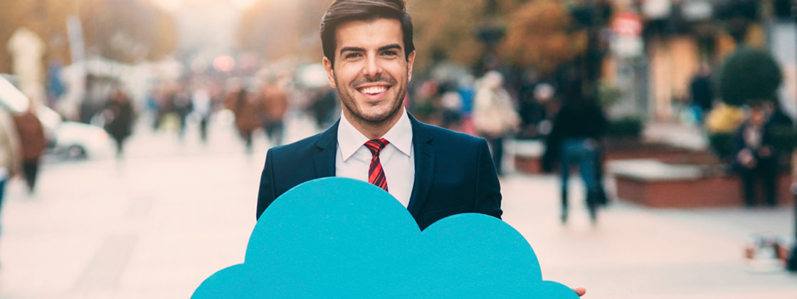 Businessman promoting cloud computing - ERP Cloud Software