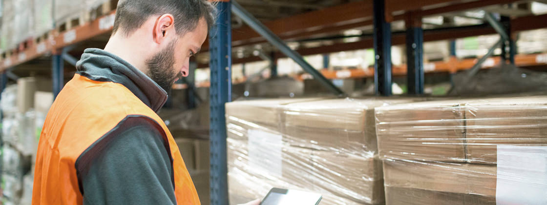 Warehouseman using tablet at work - ERP Mobility