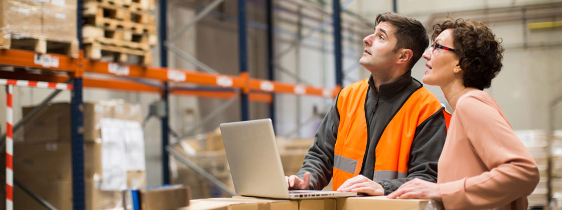 Warehouseman and manager analysing stock in warehouse - Warehouse Management with Microsoft Dynamics AX