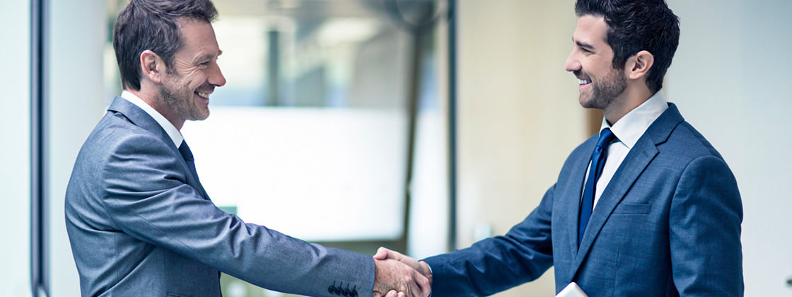 Two sales representatives shaking hands - Sales Support with Microsoft Dynamics NAV