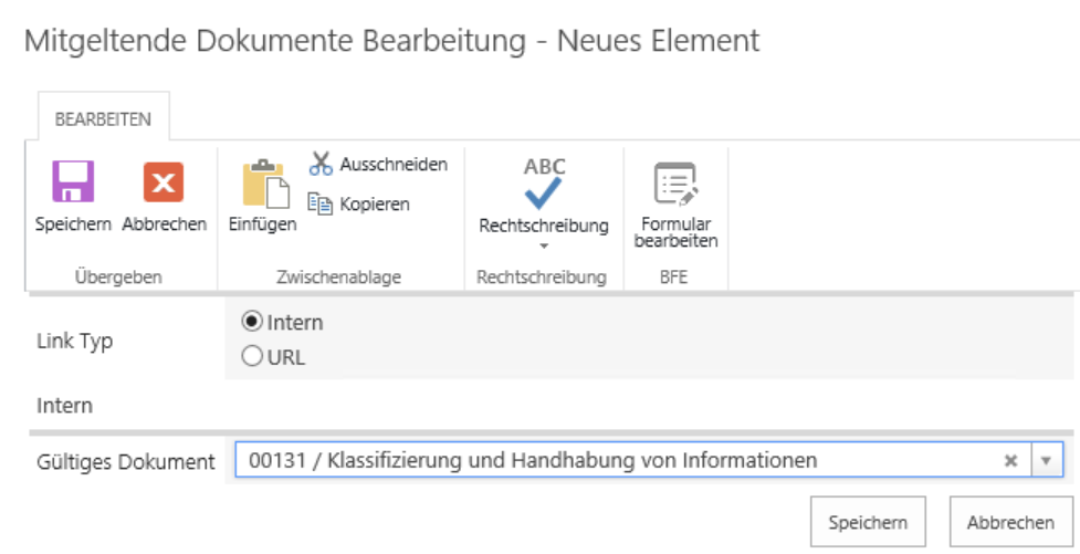 Screenshot - SharePoint Quality Management linked documents